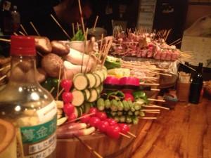 あぐー豚と野菜の串焼き